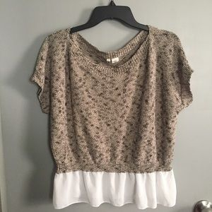 Moth Knit Layered Lace Knit Top